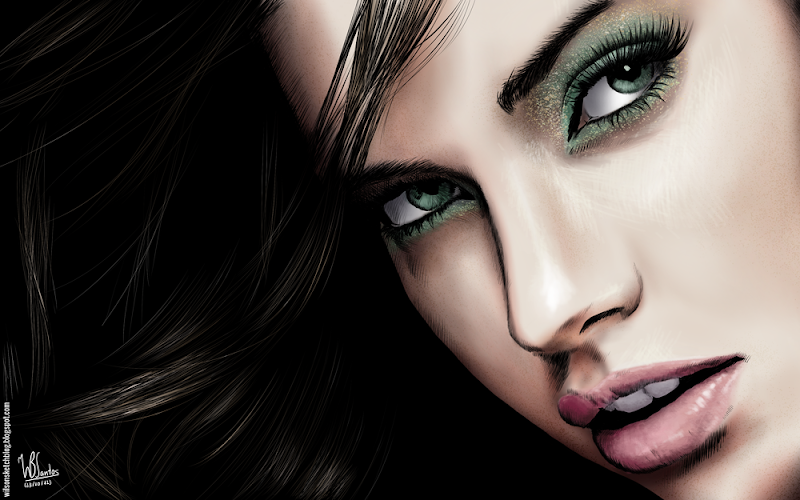 Colored ink drawing of Adriana Lima, using Krita 2.4.