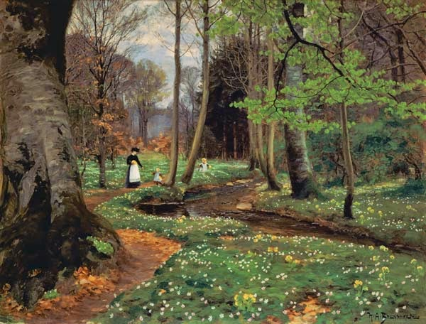 Hans Andersen Brendekilde - Mother and children at a woods brook