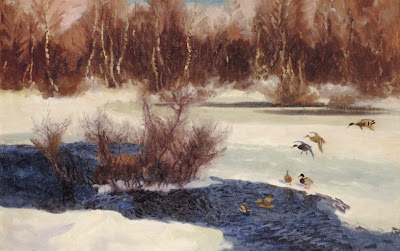 Bruno Liljefors - Wild Ducks by frozen water