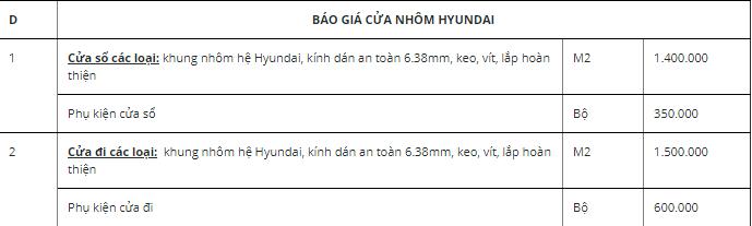 Bảng báo giá cửa nhôm hyundai và phụ kiện cửa nhôm hyundai