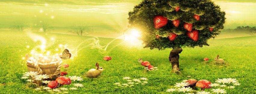 Çilek ağacı ve kırmızı mantarlar kapak fotoğrafları
