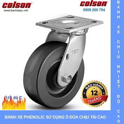 Bánh xe Phenolic chịu nhiệt càng xoay phi 125 Colson caster Mỹ | 4-5109-339
