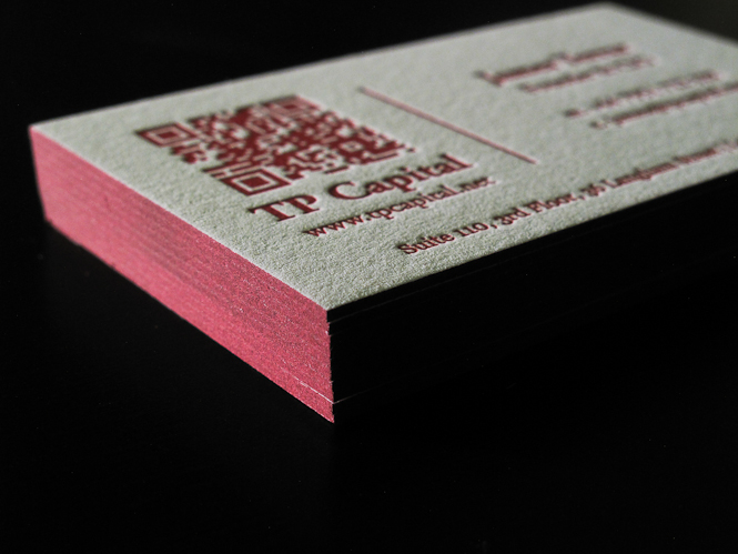 Letterpress business cards with qr code and edge paint james terrar letterpress business card with qr code and edge paint reheart Gallery