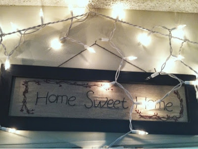 lights, string lights, home sweet home, cross stitch