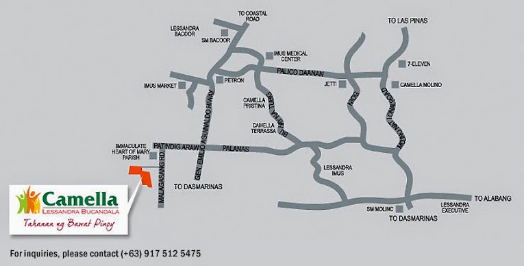 Vicinity Map Location Mika - Camella Bucandala | Crown Asia Prime House for Sale Imus Cavite