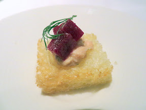 BlueHour Portland, amuse bouche of grilled brioche with salmon and beets