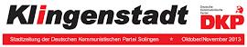 Zeitungskopf: »Klingenstadt. Stadtzeitung der Deutschen Kommunistischen Partei«