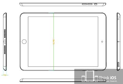 iPad miniの寸法図:前面、側面図。miniDockコネクタや2つのスピーカーホールがある
