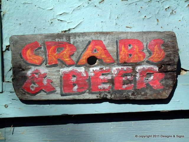 faux antique signs - crabs & beer