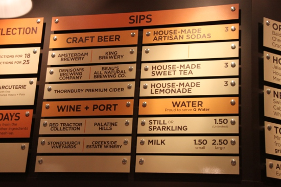 The all-Ontario drinks menu at Cheesewerks.