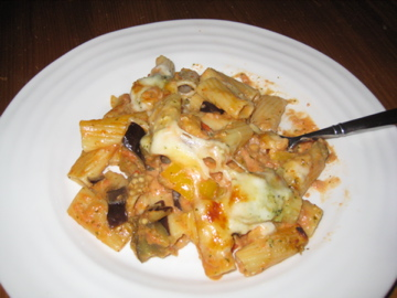 Meagan's First Kitchen: Rigatoni With Eggplant and Pine Nut Crunch
