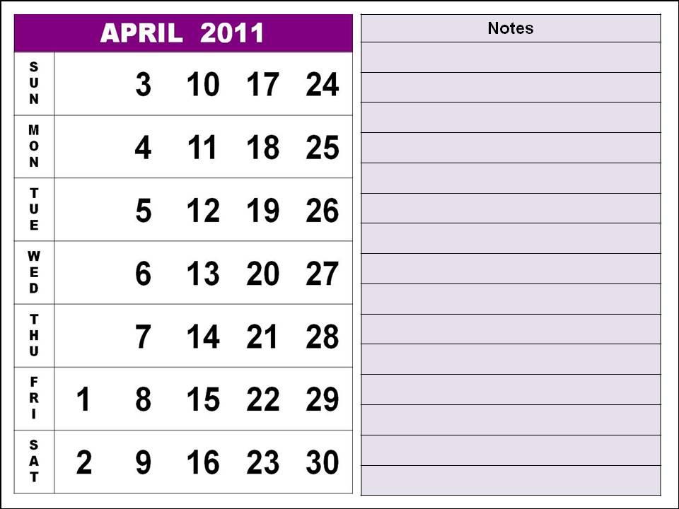 2011 april calendars. 2011 April Calendar Design