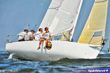 J/80 one-design sailboat- sailing upwind