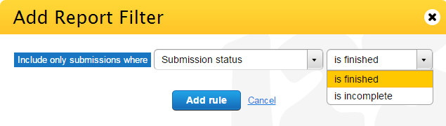 123FormBuilder Filter Submission Status in Report