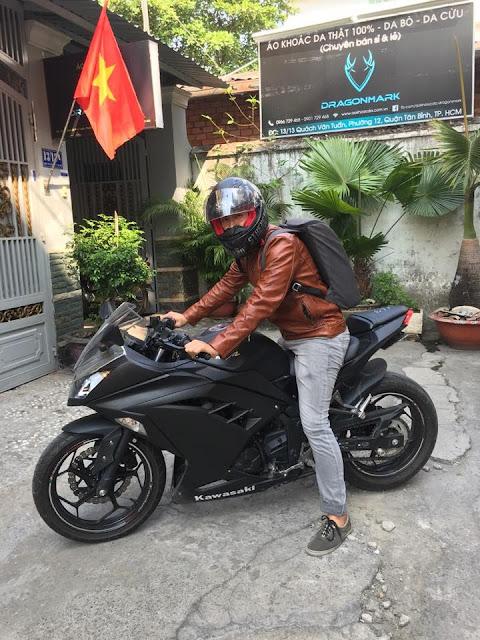 may áo da moto