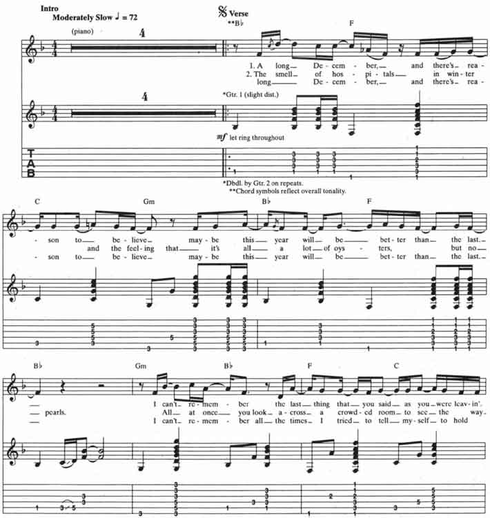 Counting Crows – A Long December guitar tabs