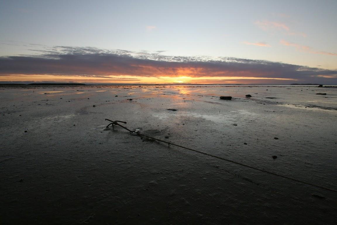 Закат, отлив, Белое море, Юково, остров Максимиха