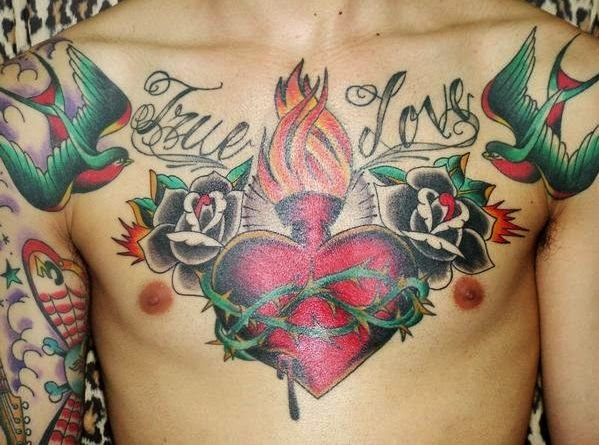 Love Birds Heart Tattoo Bird Rose Heart Chest Tattoos