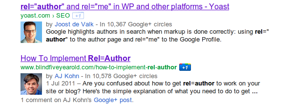 google search listing with rel=author