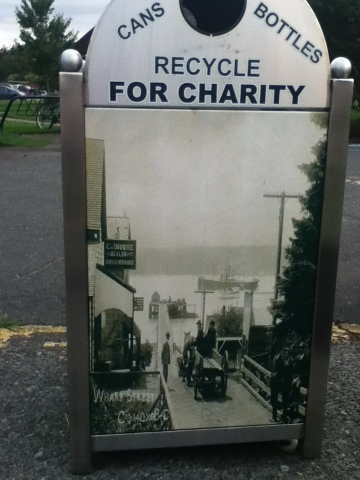 A for charity bottle collector at Comox Marina