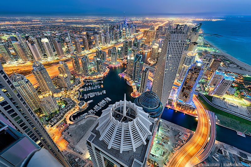A staggering twilight view of the Dubai Marina from the 85th floor. Photographer Elia Locardi