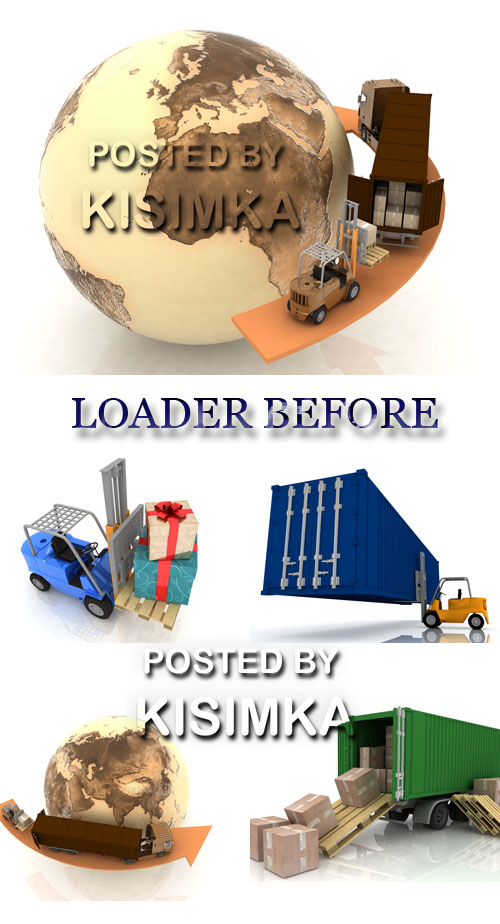 Stock Photo: Loader before the rows of boxes