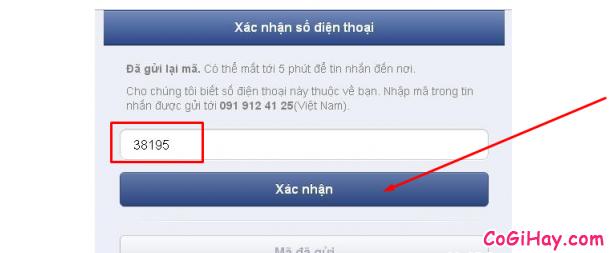 xác minh số điện thoại đăng ký facebook