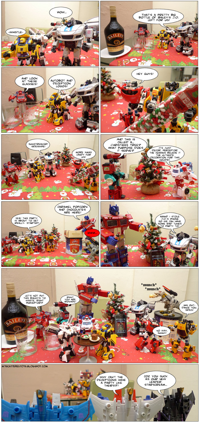 autobot post-xmas party - my toys are alive 10 transformers fan comics featuring autobots and seekers