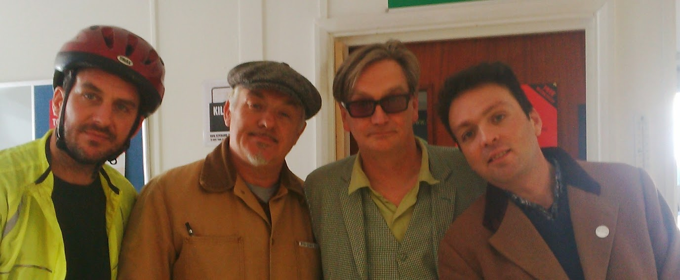 Murray Lachlan Young, the poet and playwright, Chris Sullivan, Piers Thompson and Founder of The Idler, Tom Hodgkinson