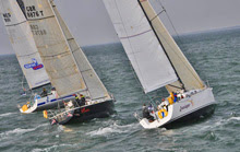 J sailing teams at start of North Sea Race, Hague, Netherlands