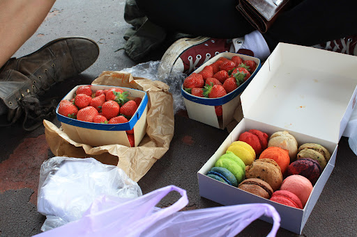 fresh lunch from the markets - strawberries and macaroons!.jpg