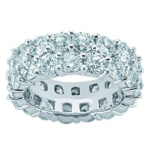 Diamond Two Row Eternity Wedding Band Ring