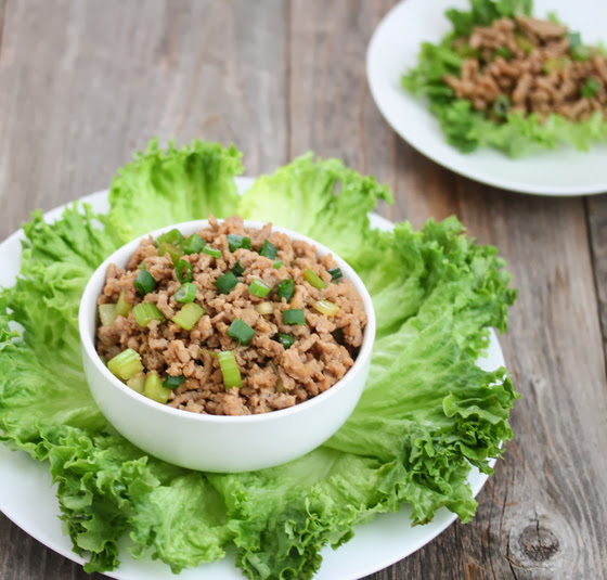 photo of a platter of chinese style lettuce wraps