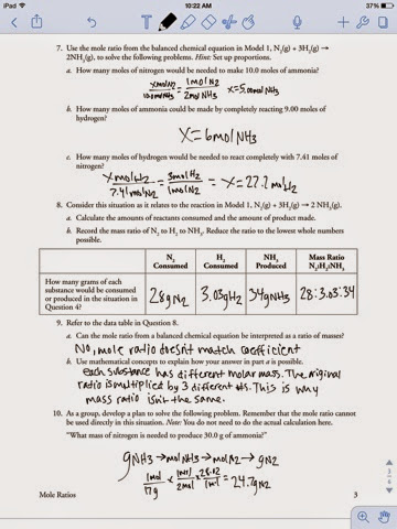 Chemistry Assignments : Mole ratio worksheet