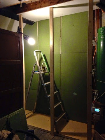 renovating an old stone cottage building cupboards in the bedroom