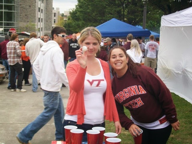 Melissa and Nicki tailgating for a football game