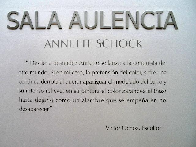 Crítica presentación de la Exposición de Annette Schock en el el Centro Cultural La Despernada,Sala Aulencia