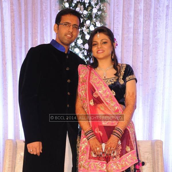 Gaurav and Richa Rughwani during their wedding reception, in Nagpur.