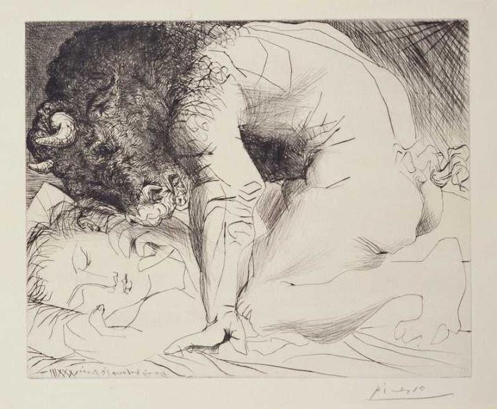 Minotaur Caressing a Sleeping Woman 1933