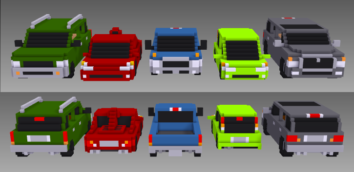 MagicaVoxel voxel cars