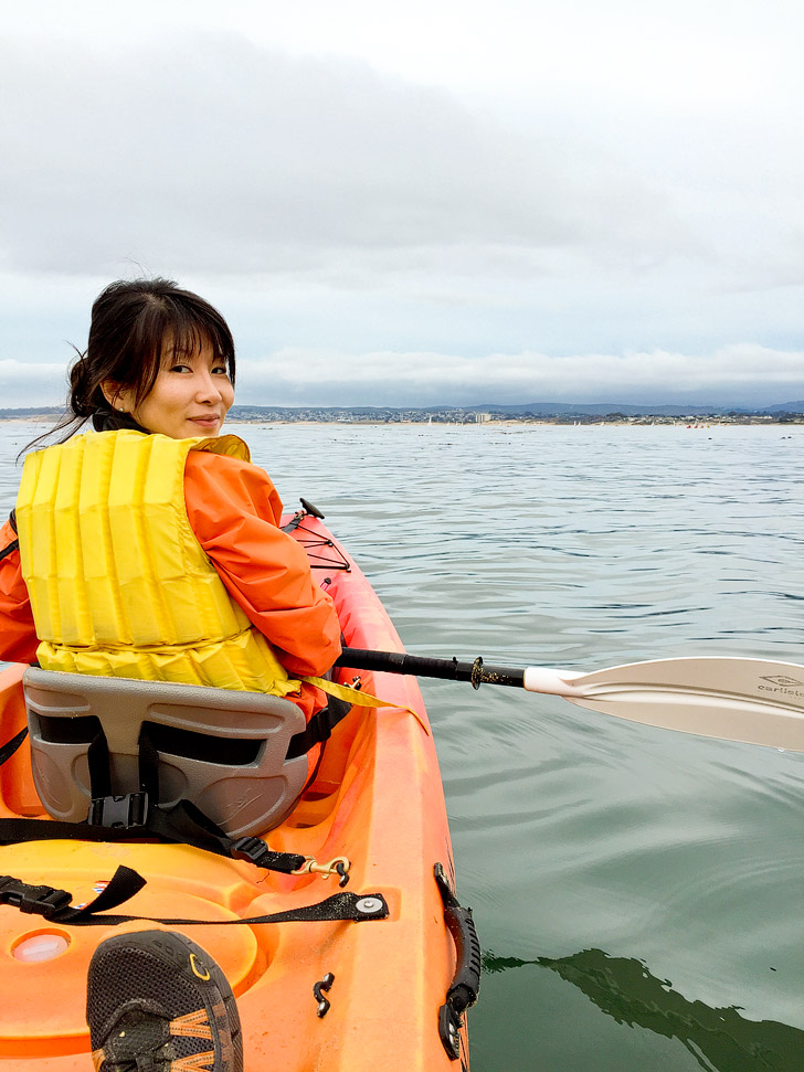 Kayaking in Monterey Bay.