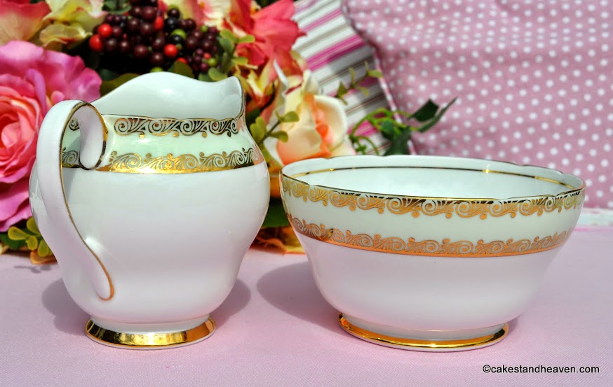 Stanley China green and gold vintage creamer and bowl