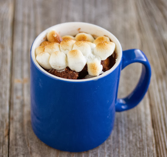 photo of a s'mores mug cake with toasted marshmallows on top