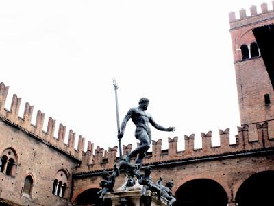 Statue in Piazza Maggiore in Bologna Italy