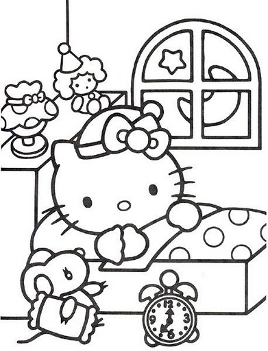 Hello Kitty Sleeping Coloring Pages : Hello kitty ready to sleep free coloring pages