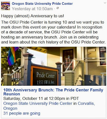 OSU Pride Center 10th anniversary Facebook page screen capture Oct. 4, 2014