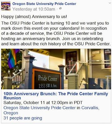 OSU Pride Center 10th anniversary Facebook page screen capture Oct. 4, 2014