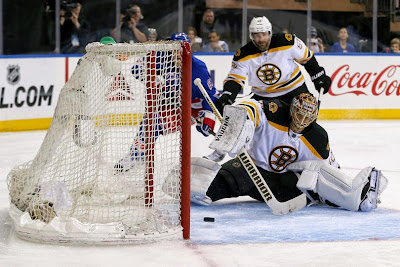 Rangers get a freebie goal as Tuukka Rask lost his balance and the puck went by him and into the net