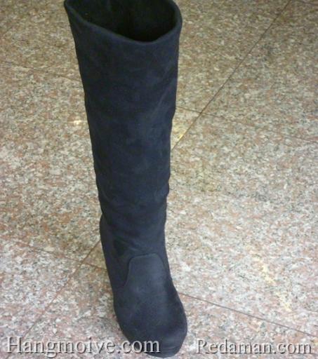 Boots đế xuồng, cao cổ quá đầu gối, chất liệu bằng da lộn, màu đen 1 - Chỉ với 680.000đ