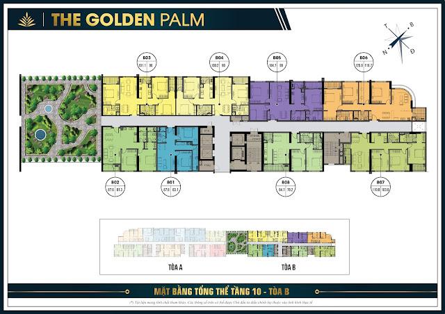 Mặt bằng thiết kế tầng 10 tòa B chung cư The Golden Palm